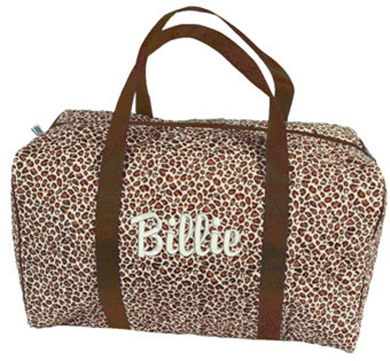 c26a7bff8435 Personalized Leopard Quilted Kids Girls Duffel Bag Overnight Monogram Name  Embroidery