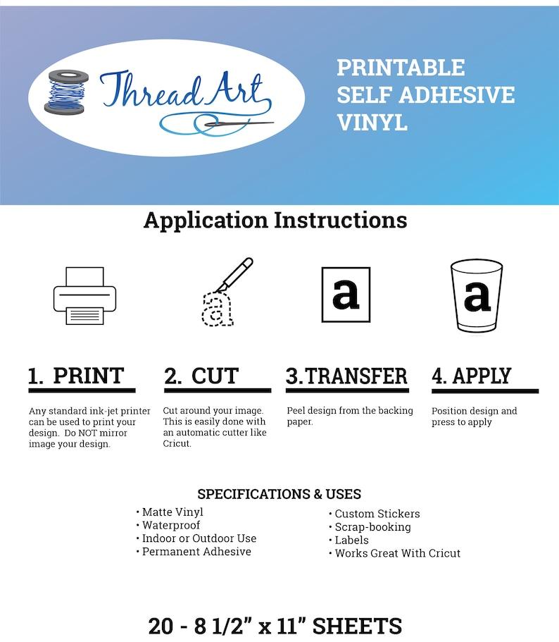 20 Sheets of Printable Sticker Vinyl Inkjet or Laser Printer
