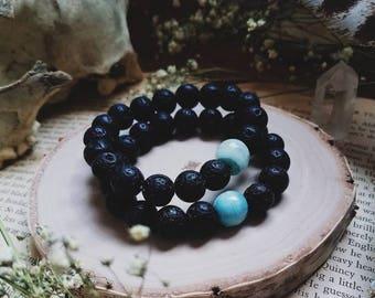 Lava Stone Stackable Bracelet // Glass & Stone Bracelet