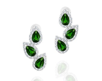 White Gold Plated Emerald Teardrop Drop Stud Earrings