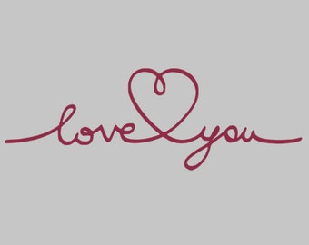 Love You Heart Decal | Valentine's Day Decal | Love Decal | Engagement Decal | Yeti Decal