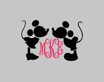 Mickey & Minnie Kissing Monogram Decal | Mickey and Minnie Decal | Disney Decal | Disney Yeti Decal | Yeti Decal | Car Decal