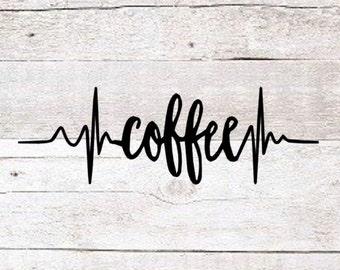 Coffee Heartbeat Decal | Coffee Mug Decal | Coffee Yeti Decal | Coffee Lover Decal | Love Coffee | Coffee Time | Yeti Decal | MacBook Decal