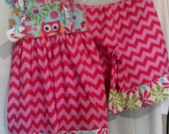4T Pink Chevron dress and ruffled pants