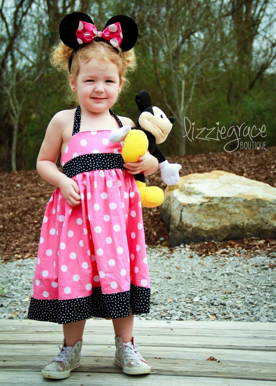 ba4b6c2fe Mickey Mouse Dress Minnie Dress Halter Dress Pink Polka Dot   Etsy