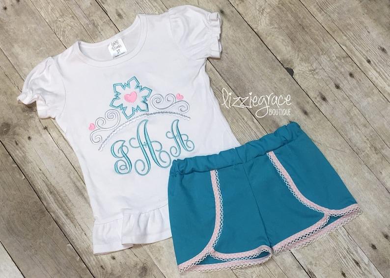 67d8062e00b33 Princess Short Set Elsa Inspired Outfit Tiara Monogram | Etsy