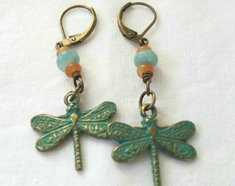 Verdigris Patina Brass Dragonfly Earrings, Handmade Boho Jewelry, Rustic Dangle Earrings, Gift For Her