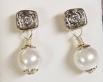 White Pearl Dangle Earrings  South Sea Shell Cubic Zircon Studs Handmade Pearl Jewelry For The Bride Prom Anniversaries Birthdays Weddings