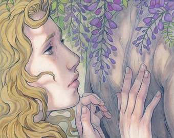 Wisteria Mystery original art print 11x17 inches