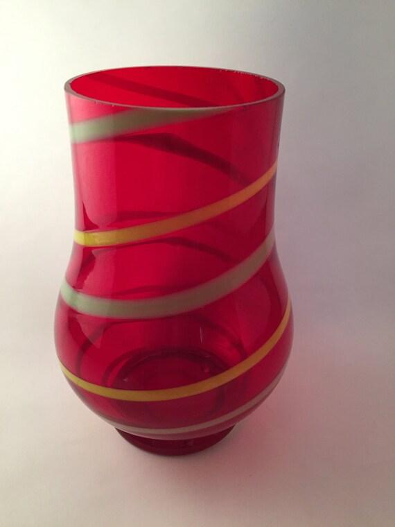 Vases Czech Vases Red Glass Vases Vintage Czechoslavakian Etsy