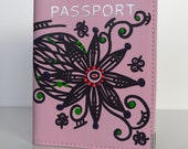 Hand Painted Leather Passport Cover Light Pink Flower Customizable Art To Wear Collection by Miami Artist Holly A. Jones