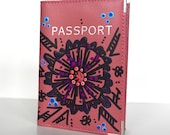 Hand Painted Passport Case Travel Accessory Art To Wear Collection by Miami Artist Holly A. Jones