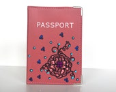 Pink Passport Case Hand Painted Customizable Travel Accessory Art To Wear Collection by Miami Artist Holly A. Jones