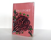 Pink Passport Cover Hand Painted Customizable Travel Accessory Art To Wear Collection by Miami Artist Holly A. Jones