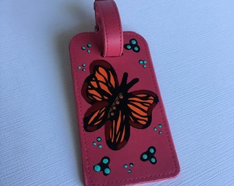 Luggage Tags Butterfly And Flower Collage Travel Accessories Baggage Name Tags