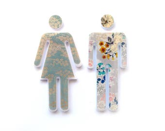 Bathroom Sign, Door Sign - Gold Pattern and Beige Flower Tapestry - Guest Bathroom Sign - Male & Female Sign