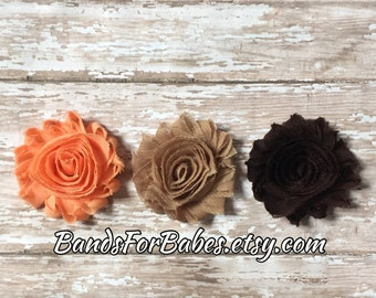 SALE Fall Shabby Chic Flower Hair Clip Set, Coral Tan & Brown Flower Barrettes, Girls Alligator Clips, Toddler Hair Accessories, Hair Clips