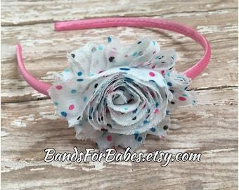 Colorful Polkadot Shabby Chic Satin Wrapped Headband, Pink White and Blue Flower Accessory, Basic Headband, Girls Hard Headband, Hair Bow