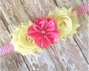 SALE Pink & Yellow Shabby Chic and Satin Flower Chevron Headband, Baby Headband, Toddler Headband, Girls Headband, Hair Bow, Flower Girl