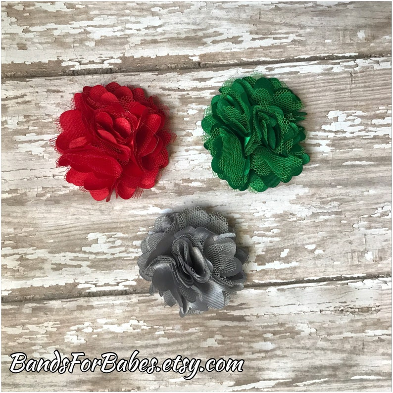 /& Silver Flower Barrettes, Green SALE Festive Satin and Tulle Flower Hair Clip Set Toddler Alligator Clips Red Girls Holiday Hair Bows