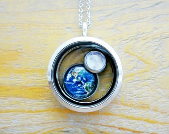 Earth and Moon Necklace Floating Locket Necklace (Silver, Planet)