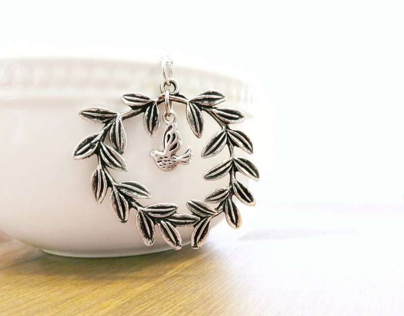 Laurel Wreath, Dove Charm, Handcrafted, Silver, Bird Necklace Dove Necklace Wreath Necklace