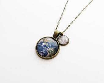 Earth and Moon Handcrafted Pendant Necklace