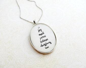 Joy Noel Peace Believe Christmas Love - Christmas Tree Pendant Necklace