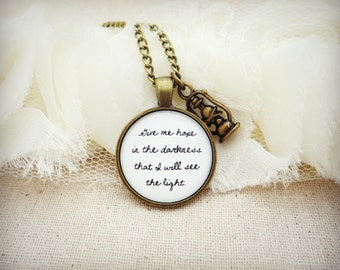 Give Me Hope In The Darkness Handcrafted Pendant Necklace with Lantern Charm