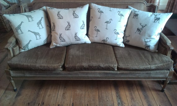 Hares ~ Hare Cushion ~ Hare Pillow ~ Frolicking Hare Fabric ~ Hare Linen ~ Nature ~ Wildlife ~ Country Cushion