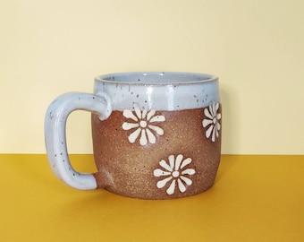 PRE ORDER Handmade Ceramic Mug in Lazy Daisy Stamp