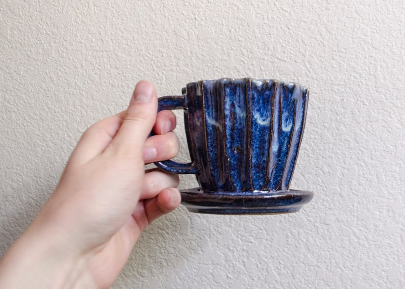 Blue Carved Pour Over Set