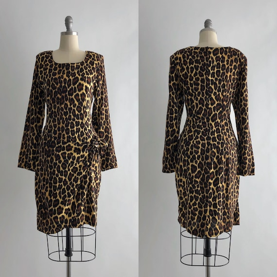 Vintage 90s Leopard Print Dress / Vintage 90s Leop