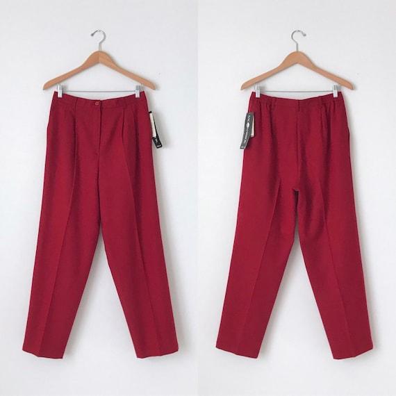 Vintage Red Wool Trousers / Vintage NOS Red Wool P