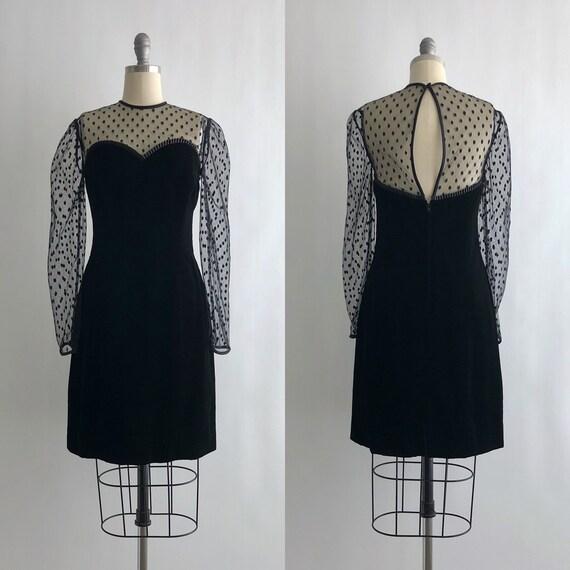 Vintage 80s Lillie Rubin Velvet Dress / Vintage 80