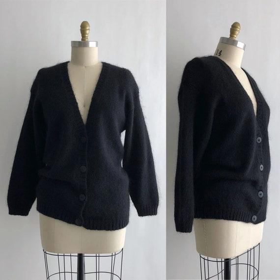Vintage 80s Black Cardigan / Vintage 80s Fuzzy Bla