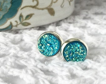 Turquoise Titanium Druzy Stud Earrings, Druzy Studs, Druzy Earrings, Earrings, 8mm Studs,Blue Jewelry, Tropical Jewelry, Bridesmaid Gift