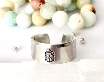 Buddha Ring, Hand Stamped Ring, Om Ring, Yoga Jewelry, Buddha Jewelry, Namaste Jewelry, Meditation jewelry, Spiritual Jewelry, Zen
