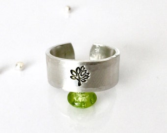 Silver Tree Ring Band, Hand Stamped Ring, Tree of Life Ring Jewelry, Nature Jewelry, Hand Stamped Jewelry, Tree Jewelry, Spiritual Jewelry