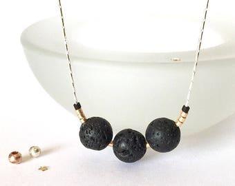Lava Stone Necklace, Lava Bead Necklace, Lava Rock Jewelry, Essential Oil Necklace Diffuser Jewelry, Aromatherapy, Minimalist Necklace