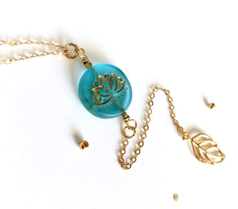 Blue Lotus Flower Necklace Lotus Jewelry Gold Y Necklace Etsy