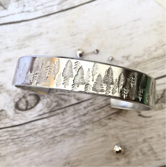 Inspirational Motivational Encouragement Gift Mountain Forest Tree Cuff Bracelet Hand Stamped Outdoors Nature Wanderlust Backpacker Gift
