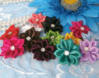 Folded Point Satin Flowers 25mm with sewn on Montee Rhinestone Center, Multicolored, Mixed Bag, 12pc, Wholesale DIY hairbow headband decor