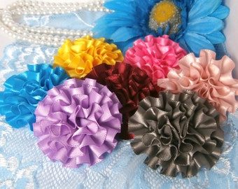 Ruffled peony flowers Multicolored Mixed, 50mm, 2inch size felted back, for headbands, hairbows, sewing, hair pretties deco mixed media