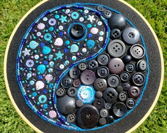 Blue Yin Yang Sequin Sea Shell Beaded Button Wall Decor Hanging Unique Hippie 70s Embroidery Black Ocean Marine Sparkly
