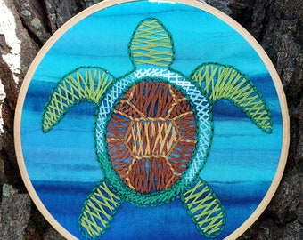 Sea Turtle Herringbone Embroidery Brown Green Wall Art Coastal Tropical Nautical Ocean Marine Decoration Hanging Sea Life Reptile Tortoise