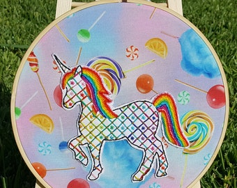 Rainbow Unicorn Embroidery Hoop Large with Metallic Thread with Candy Fabric Background Lisa Frank Inspired