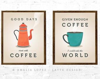 Coffee quote print coffee wall art coffee lover gift coffee gift kitchen wall art kitchen print retro print  sc 1 st  Etsy & Retro kitchen art | Etsy
