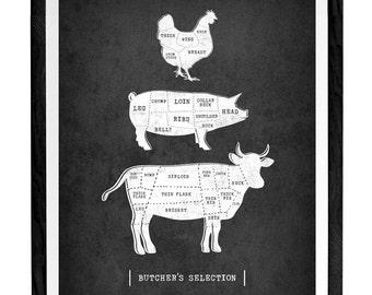 Traditional butcher kitchen print Butcher poster butcher cuts diagram traditional butcher print vintage butcher print butcher cuts print