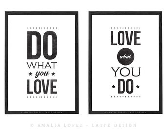 Set of 2 prints. Do what you love. Love what you do. Motivational wall decor Quote print typography poster inspirational print retro art